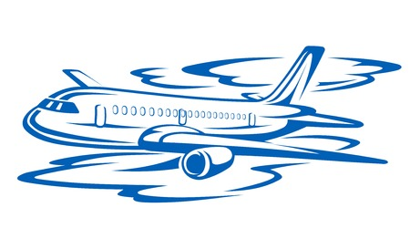 blue clouds: Flying airplane in blue clouds. Vector illustration Illustration