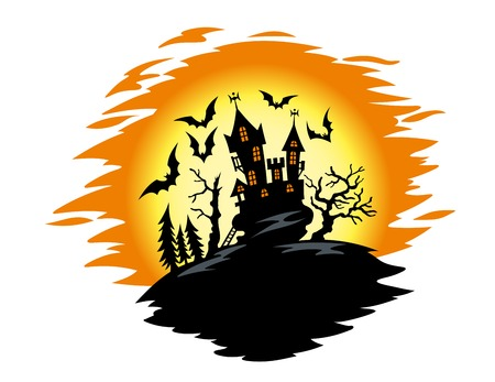 manor house: Dark castle on halloween night. Vector illustration