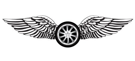Roue avec des ailes d'ange comme un symbole de la course ou de l'emblème