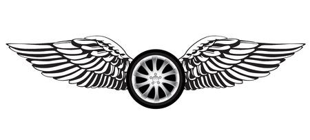 Ruota con ali d'angelo come simbolo di corsa o emblema Archivio Fotografico - 32698555