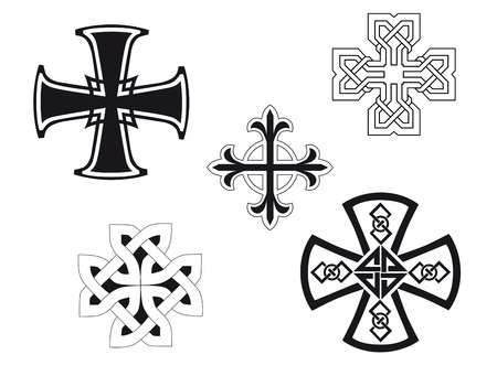 Set of religious crosses for design and decorate Illustration