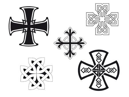 Set of religious crosses for design and decorate Vettoriali