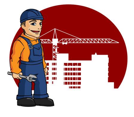 建設産業デザインのサイト構築上の労働者