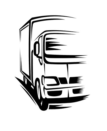 Delivery truck moving on road for transportation concepts Vector
