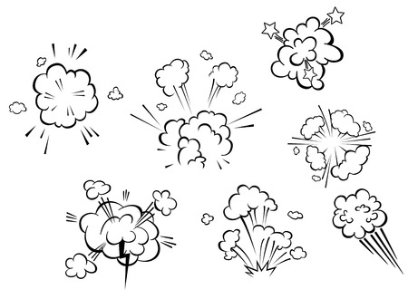 Comic explosions and clouds set in cartoon style Vectores