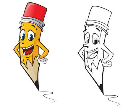 색상 및 개요 버전의 만화 연필 스톡 콘텐츠 - 32698798
