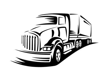 Delivery truck moving on road for transportation design or concept Vectores