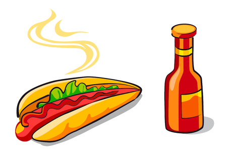 Hotdog and ketchup in cartoon style for food design Vector