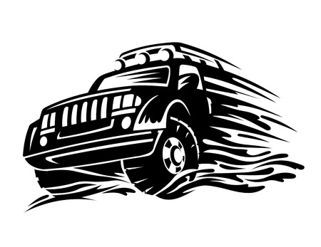 off road: Offroad vehicle in black color for tattoo design