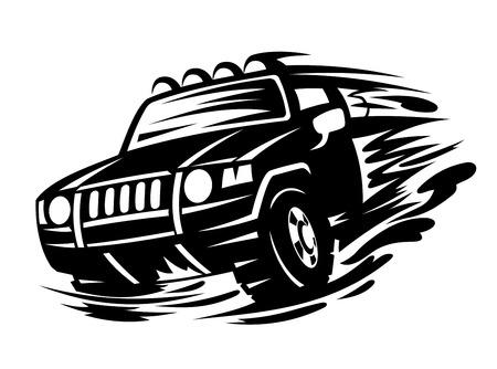 Offroad veicolo in colore nero per la progettazione del tatuaggio