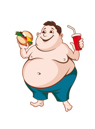 Fat man with fast food isolated on white background Vector