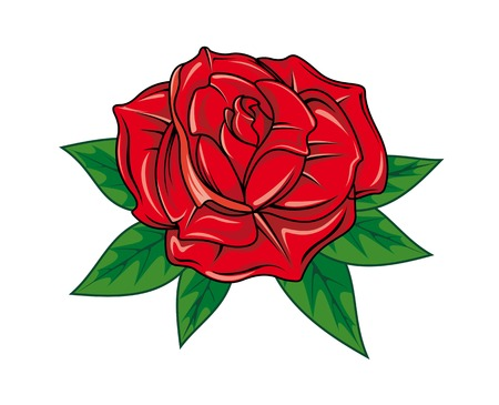 rose tattoo: Red rose in cartoon style for tattoo dsign Illustration