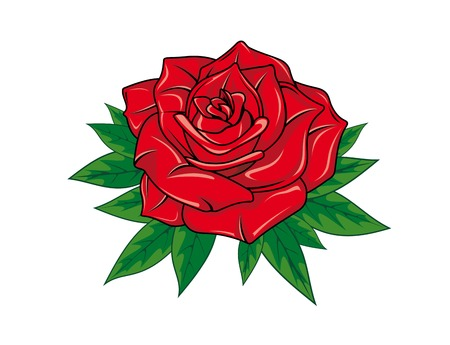 Red rose in cartoon style for tattoo dsign Ilustrace