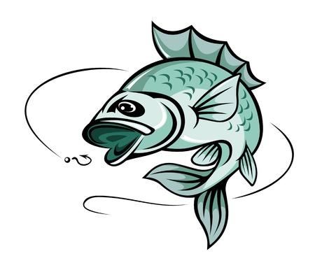 낚시 상징 스포츠에 대한 잉어 물고기 점프 일러스트