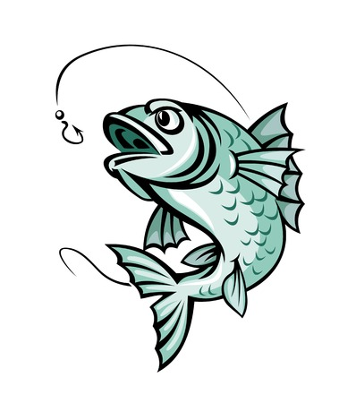 Jumping carp fish for fishing sport symbol Vector