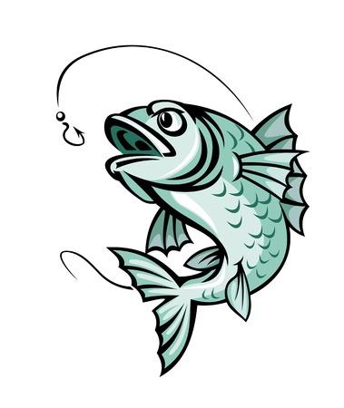 pez carpa: Saltando peces carpa para el símbolo de pesca deportiva Vectores