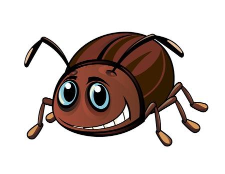 escarabajo: Escarabajo marrón divertido en el estilo de dibujos animados. Ilustración vectorial