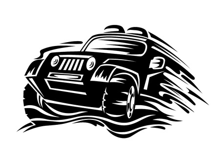 off road vehicle: Crossover car for race sports design. Vector illustration Illustration