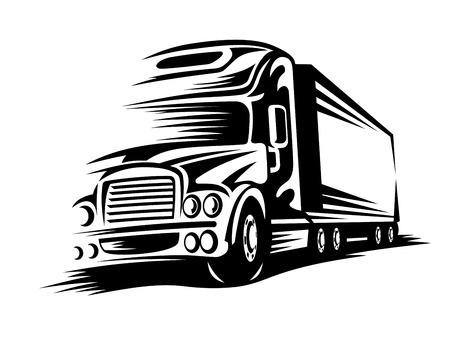 Moving delivery truck on road for transportation design. Vector illustration Ilustração