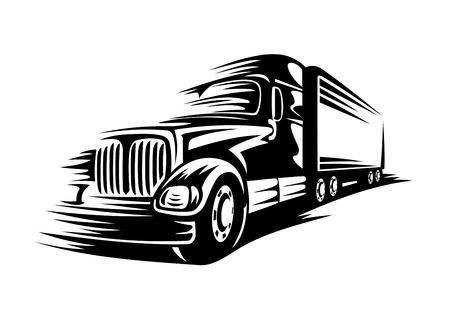 motor truck: Moving delivery truck on road for transportation design. Vector illustration Illustration