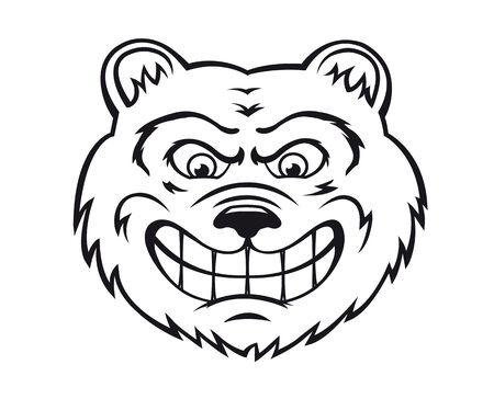 angry bear: Oso enojado en estilo de dibujos animados aislado en el fondo blanco. Ilustraci�n vectorial