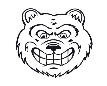 Angry bear in cartoon style isolated on white background. Vector illustration
