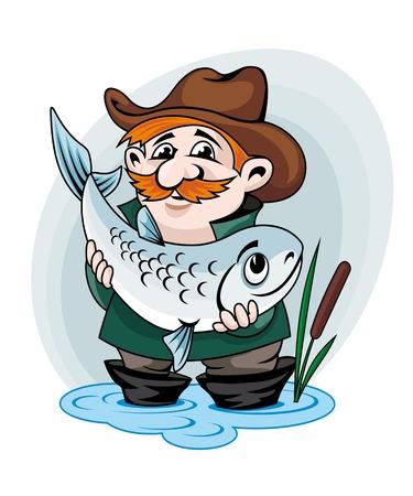 fisher man: Fisherman catch big fish. Vector illustration in cartoon style