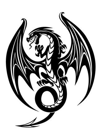 Black danger dragon isolated on white background. Vector illustration