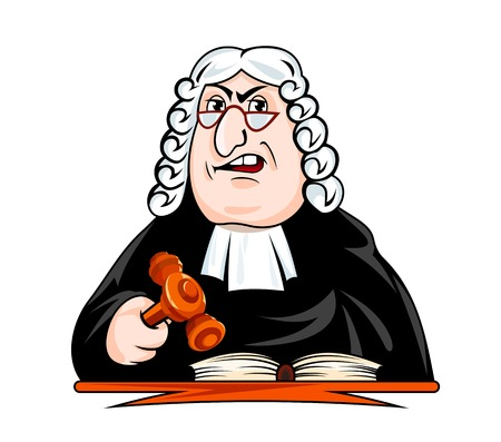 Judge make verdict. Vector illustration in cartoon style Ilustração