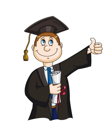 Student with diploma sertificate in cartoon style. Vector illustration Иллюстрация