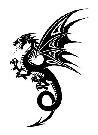 tribales: Negro Dragón peligro aislado en fondo blanco. Ilustración vectorial