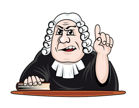 verdict: Judge make verdict. Vector illustration in cartoon style Illustration