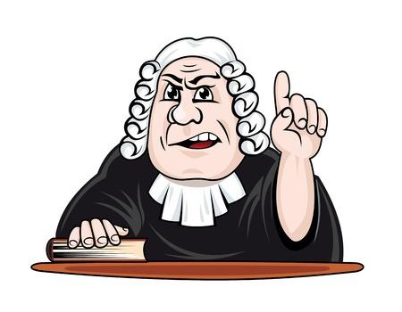 Judge make verdict. Vector illustration in cartoon style Illustration