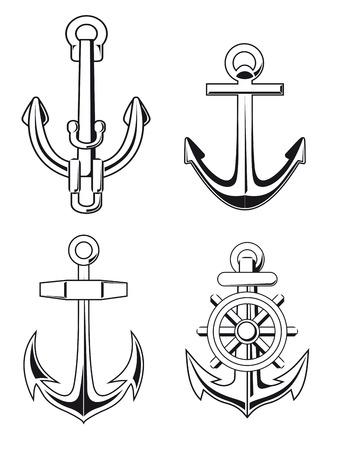 Set of anchors symbols for marine design