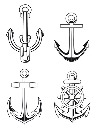 Set of anchors symbols for marine design Vector