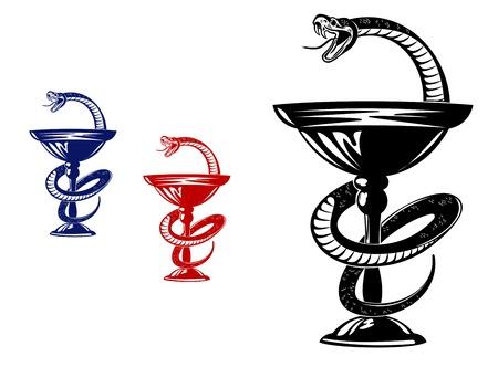Medical symbol - snake on cup. Vector illustration Illustration