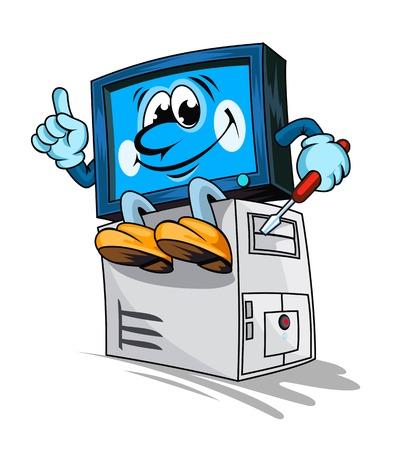 Cartoon computer for repair service design. Vector illustration