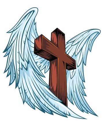 tatouage ange: Ailes d'ange avec croix de bois. Vector illustration Illustration