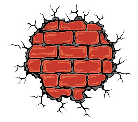 Cracked birck wall in cartoon style. Vector illustration