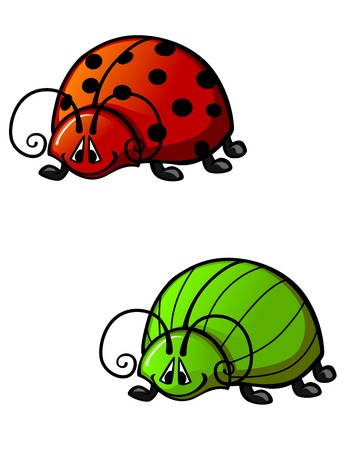 Funny colorful beetles in cartoon style. Vector illustration
