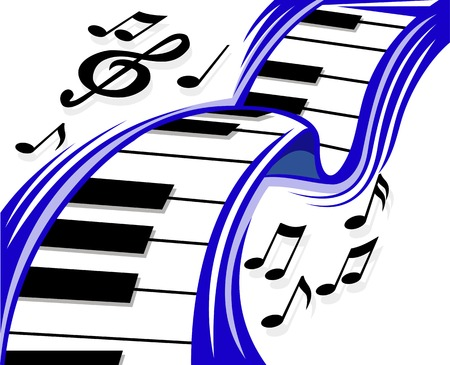 Piano wave with musical sounds for design. Vector illustration