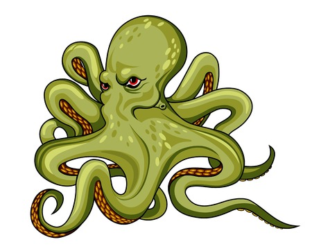 Danger octopus in cartoon style. Vector illustration