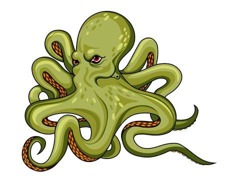 Danger octopus in cartoon style. Vector illustration