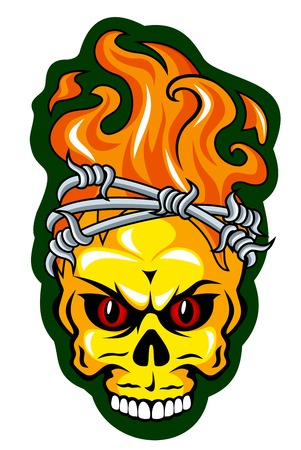 Skull with barbed wire for tattoo design. Vector illustration Vector