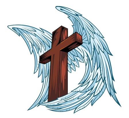 engel tattoo: Engelsflügel mit Holzkreuz. Vektor-Illustration