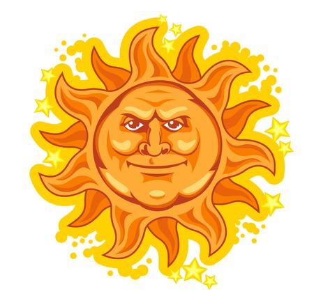 黄色の漫画太陽白い背景で隔離されました。ベクトル イラスト