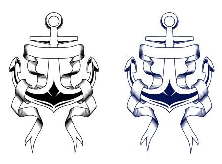 リボンでヴィンテージ紋章アンカー。ベクトル図
