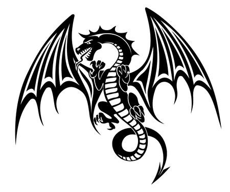 dragones: Negro tatuaje de dragón aislado en el fondo blanco. Ilustración vectorial Vectores