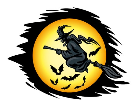 flying hat: Flying halloween witch for seasonal holiday design. Vector illustration