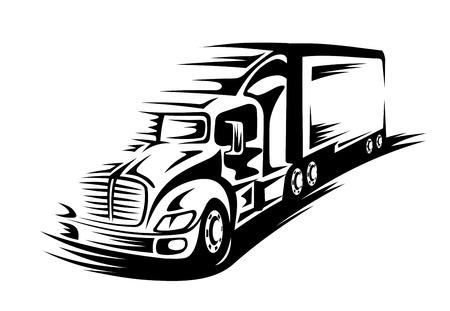 diesel: Delivery truck moving on road for transportation concept Illustration